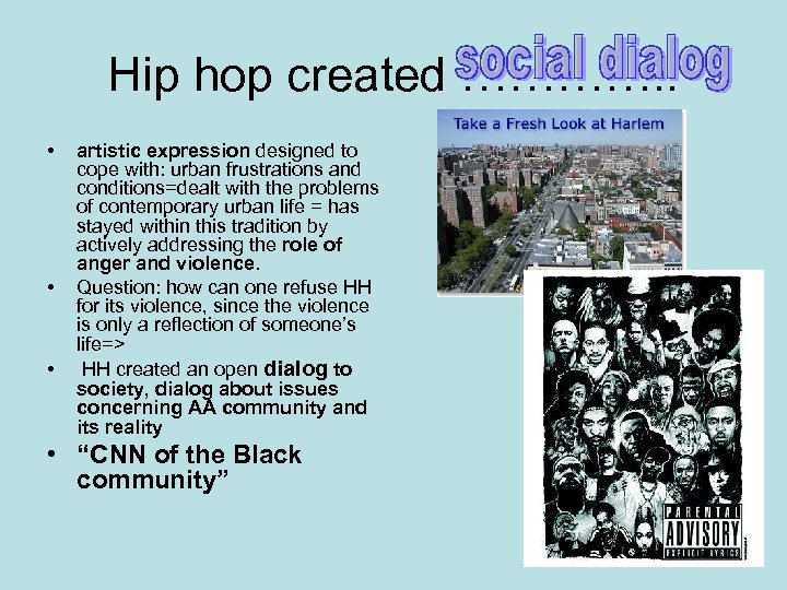 Hip hop created …………. . • • • artistic expression designed to cope with: