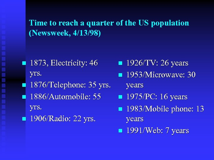 Time to reach a quarter of the US population (Newsweek, 4/13/98) n n 1873,