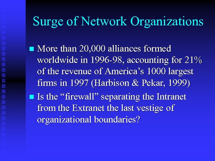 Surge of Network Organizations More than 20, 000 alliances formed worldwide in 1996 -98,
