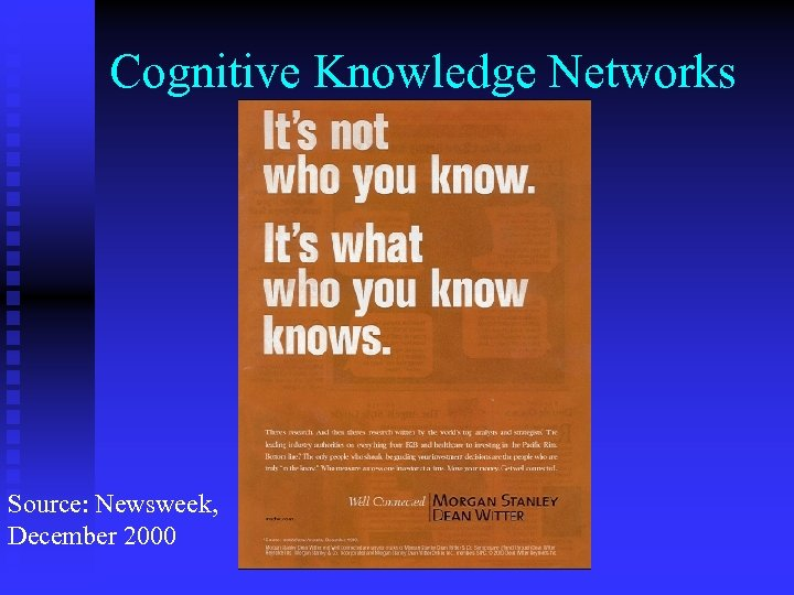 Cognitive Knowledge Networks Source: Newsweek, December 2000