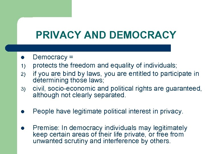 PRIVACY AND DEMOCRACY l 1) 2) 3) Democracy = protects the freedom and equality