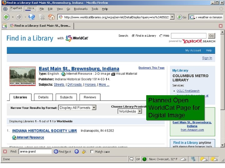 OCLC Online Computer Library Center Planned Open World. Cat Page for Digital Image