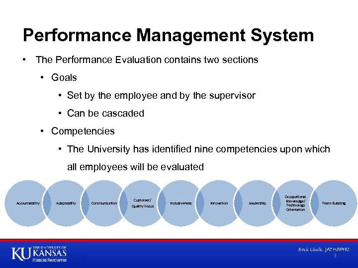 Performance Management System • The Performance Evaluation contains two sections • Goals • Set