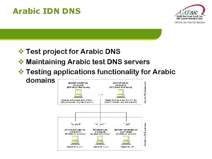 Arabic IDN DNS v Test project for Arabic DNS v Maintaining Arabic test DNS