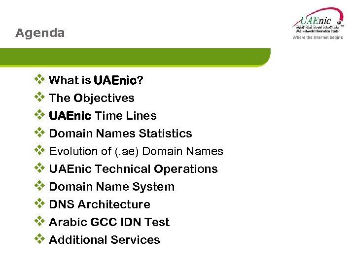 Agenda v What is UAEnic? v The Objectives v UAEnic Time Lines v Domain