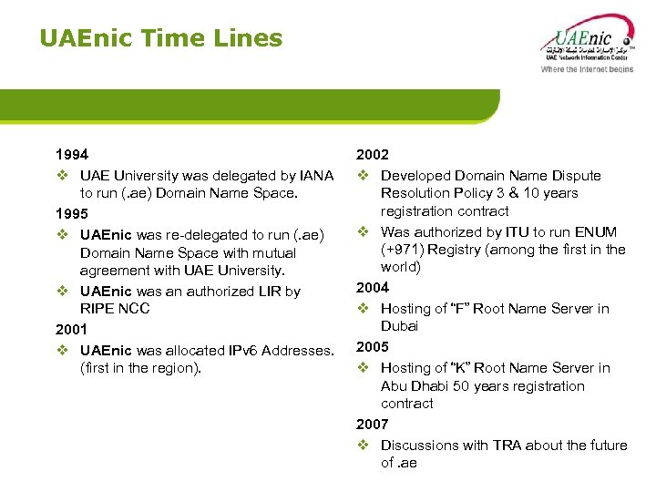UAEnic Time Lines 1994 v UAE University was delegated by IANA to run (.