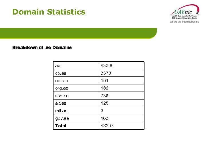Domain Statistics Breakdown of. ae Domains ae 43300 co. ae 3378 net. ae 101