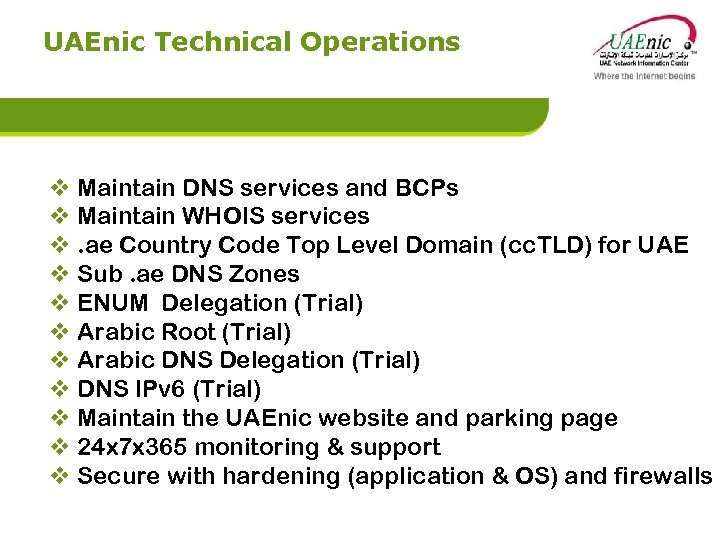 UAEnic Technical Operations v Maintain DNS services and BCPs v Maintain WHOIS services v.