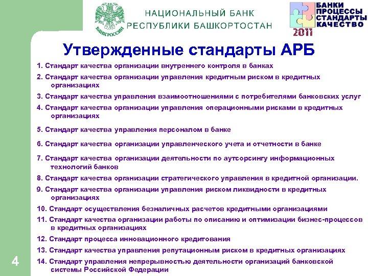 Утвержденные стандарты АРБ 1. Стандарт качества организации внутреннего контроля в банках 2. Стандарт качества