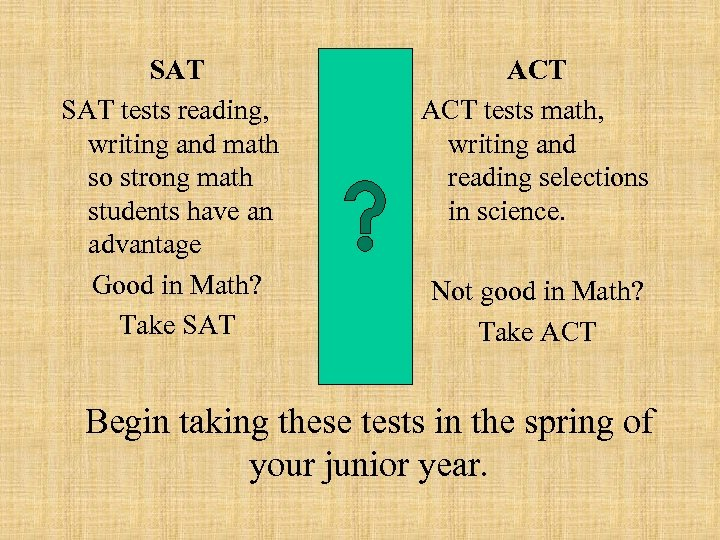 SAT tests reading, writing and math so strong math students have an advantage Good
