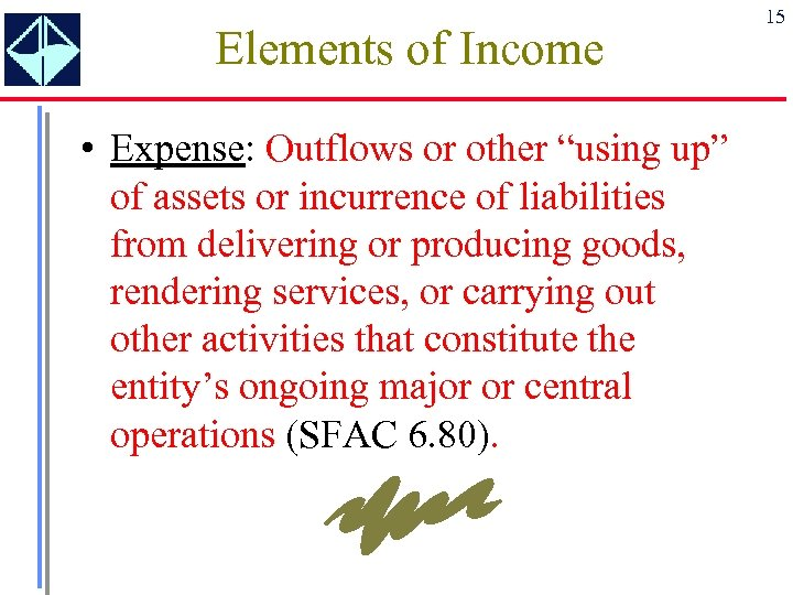 "Elements of Income • Expense: Outflows or other ""using up"" of assets or incurrence"