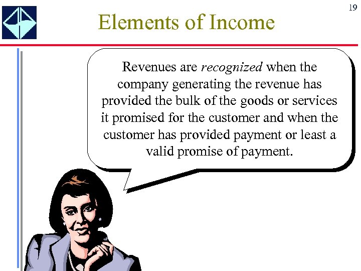 Elements of Income Revenues are recognized when the company generating the revenue has provided