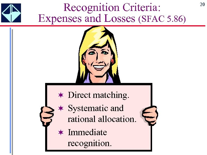 Recognition Criteria: Expenses and Losses (SFAC 5. 86) ¬ Direct matching. ¬ Systematic and