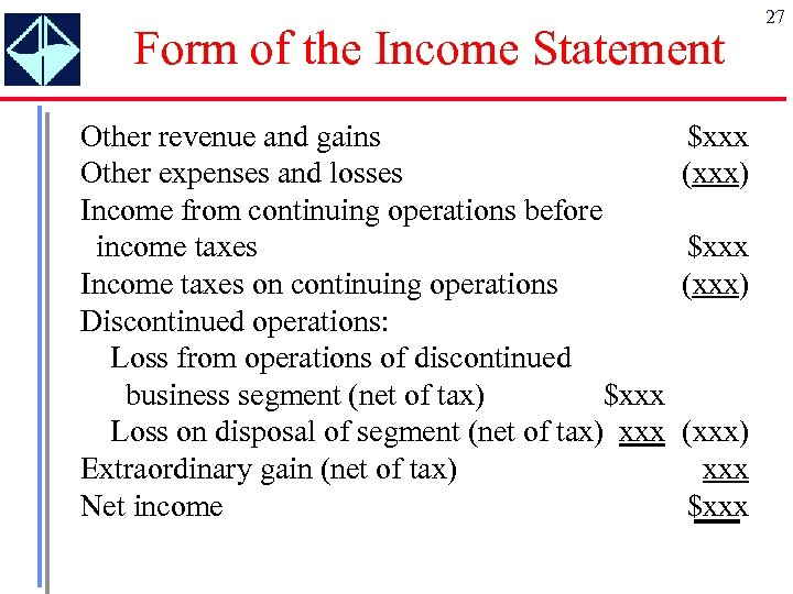 Form of the Income Statement Other revenue and gains Other expenses and losses Income