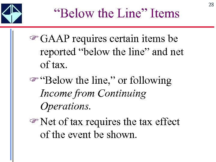 """""""Below the Line"""" Items F GAAP requires certain items be reported """"below the line"""""""