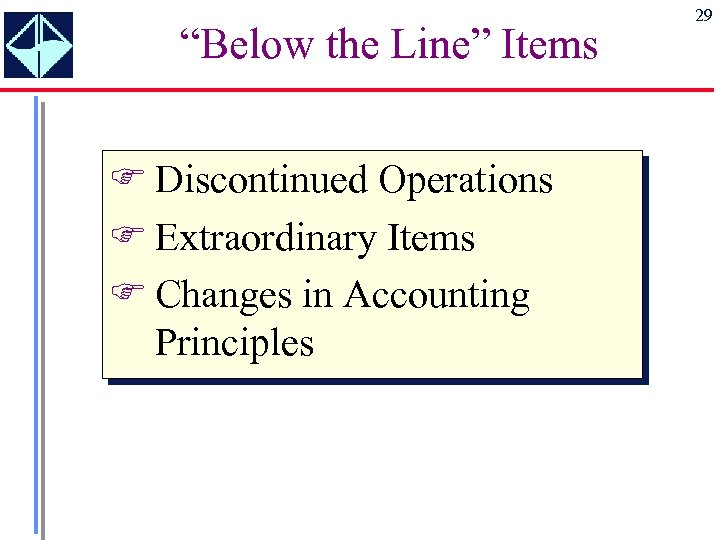"""""""Below the Line"""" Items F Discontinued Operations F Extraordinary Items F Changes in Accounting"""