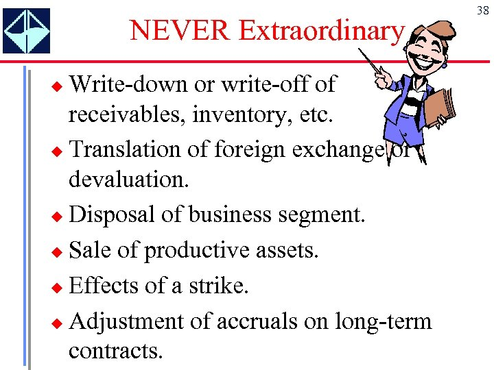 NEVER Extraordinary Write-down or write-off of receivables, inventory, etc. u Translation of foreign exchange