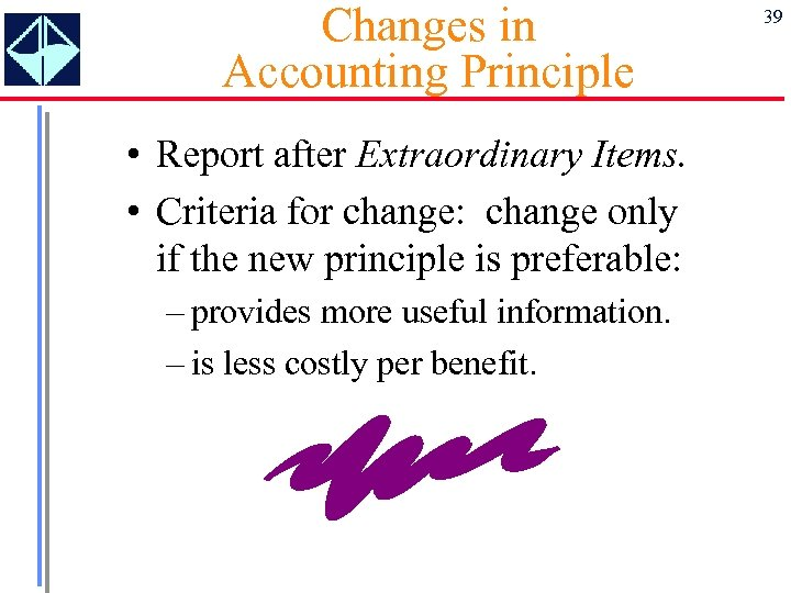 Changes in Accounting Principle • Report after Extraordinary Items. • Criteria for change: change