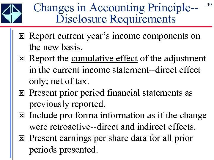 Changes in Accounting Principle-Disclosure Requirements ý ý ý 40 Report current year's income components