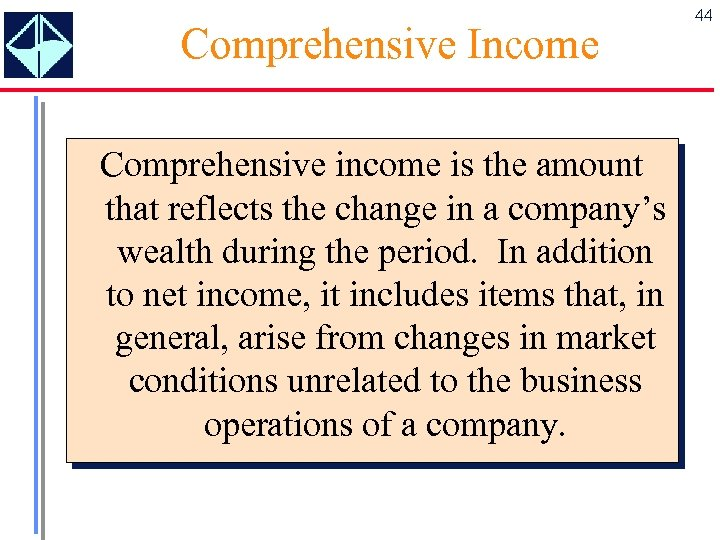 Comprehensive Income Comprehensive income is the amount that reflects the change in a company's