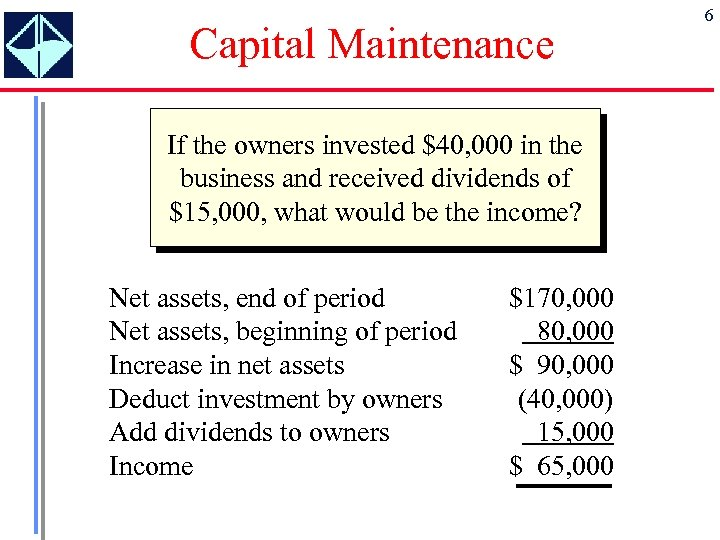 Capital Maintenance If the owners invested $40, 000 in the business and received dividends