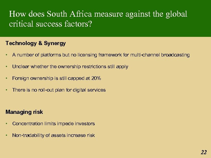 How does South Africa measure against the global critical success factors? Technology & Synergy