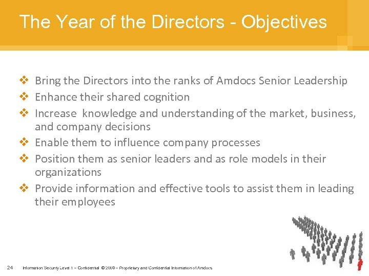 The Year of the Directors - Objectives v Bring the Directors into the ranks