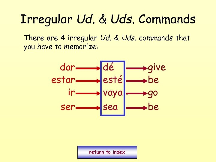 Irregular Ud. & Uds. Commands There are 4 irregular Ud. & Uds. commands that