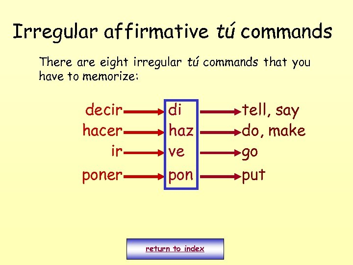 Irregular affirmative tú commands There are eight irregular tú commands that you have to