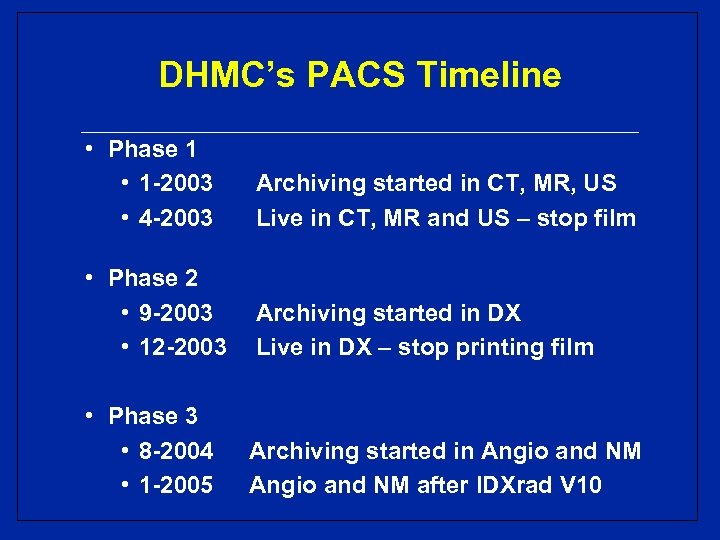 DHMC's PACS Timeline • Phase 1 • 1 -2003 • 4 -2003 Archiving started