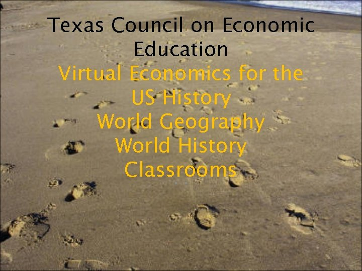 Texas Council on Economic Education Virtual Economics for the US History World Geography World