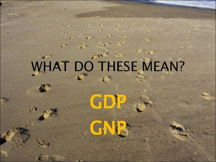 WHAT DO THESE MEAN? GDP GNP