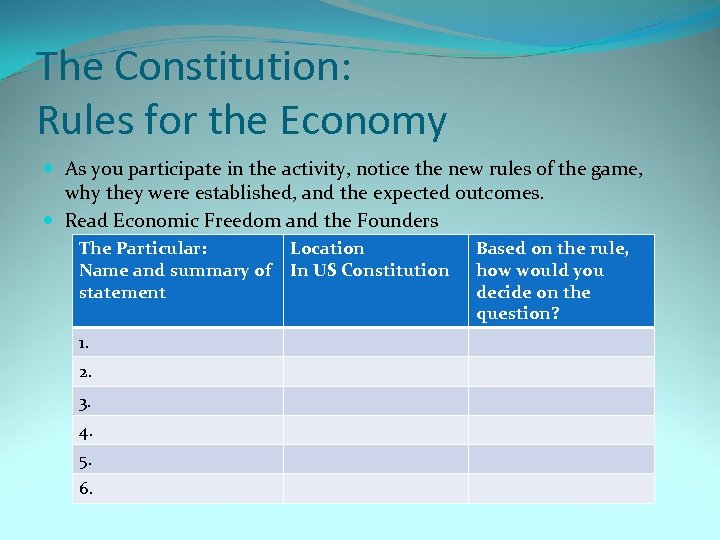 The Constitution: Rules for the Economy As you participate in the activity, notice the