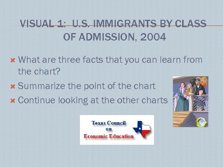 VISUAL 1: U. S. IMMIGRANTS BY CLASS OF ADMISSION, 2004 What are three facts
