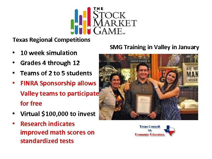 Texas Regional Competitions 10 week simulation Grades 4 through 12 Teams of 2 to