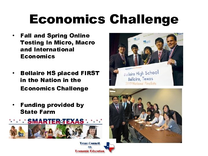 Economics Challenge • Fall and Spring Online Testing In Micro, Macro and International Economics