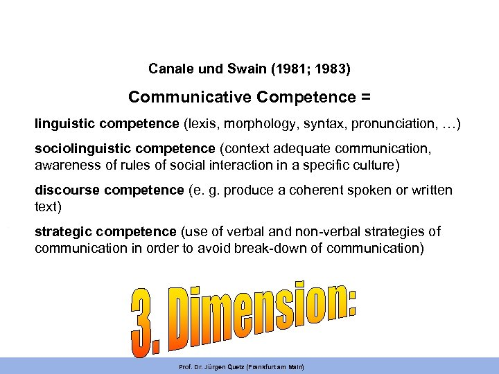 Canale und Swain (1981; 1983) Communicative Competence = linguistic competence (lexis, morphology, syntax, pronunciation,