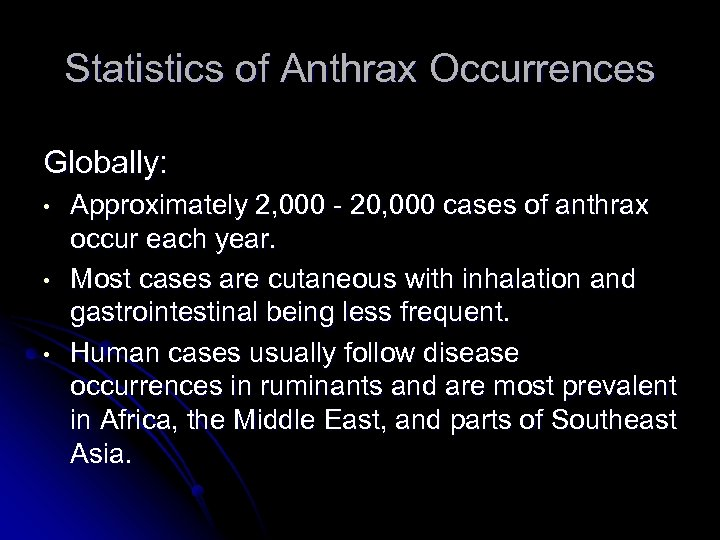 Statistics of Anthrax Occurrences Globally: • • • Approximately 2, 000 - 20, 000