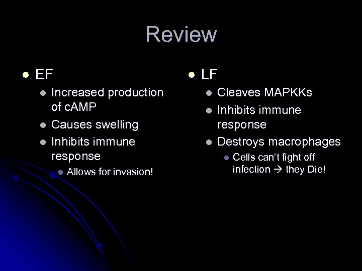 Review l EF l l Increased production of c. AMP Causes swelling Inhibits immune