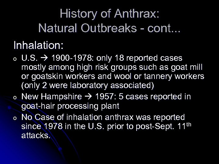 History of Anthrax: Natural Outbreaks - cont. . . Inhalation: o o o U.