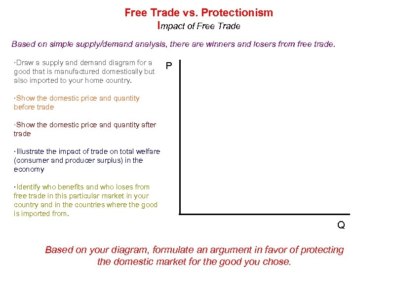 Free Trade vs. Protectionism Impact of Free Trade Based on simple supply/demand analysis, there