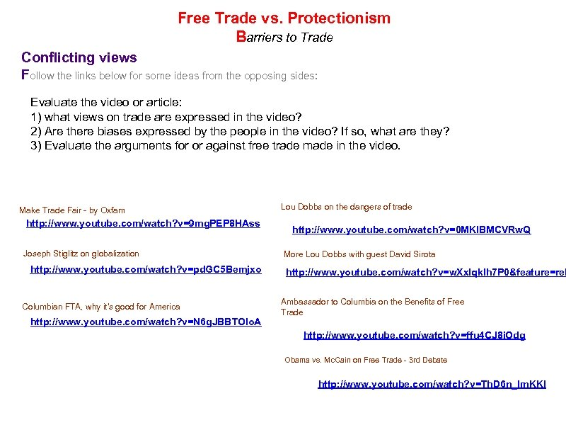 Free Trade vs. Protectionism Barriers to Trade Conflicting views Follow the links below for