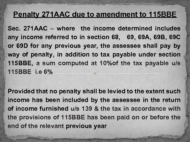 Penalty 271 AAC due to amendment to 115 BBE Sec. 271 AAC – where