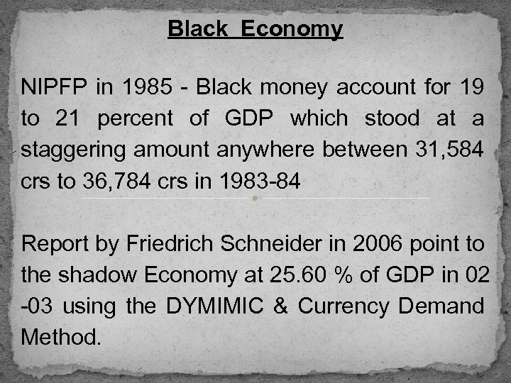 Black Economy NIPFP in 1985 - Black money account for 19 to 21 percent