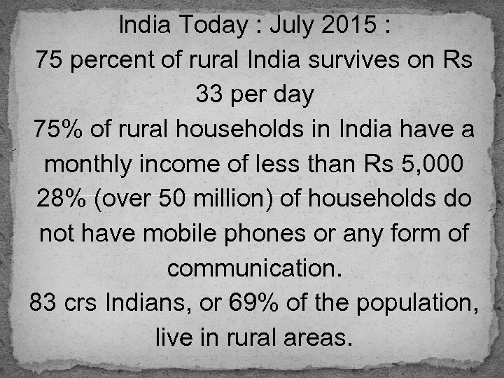 India Today : July 2015 : 75 percent of rural India survives on Rs