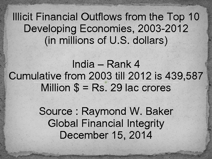 Illicit Financial Outflows from the Top 10 Developing Economies, 2003 -2012 (in millions of