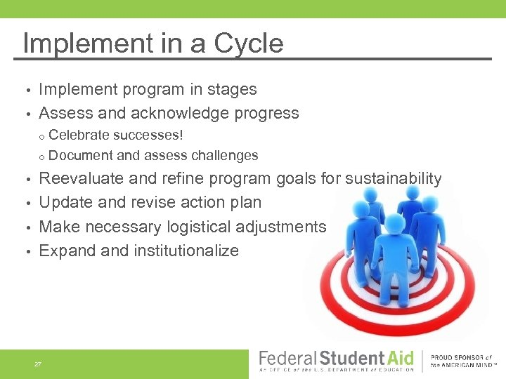 Implement in a Cycle Implement program in stages • Assess and acknowledge progress •