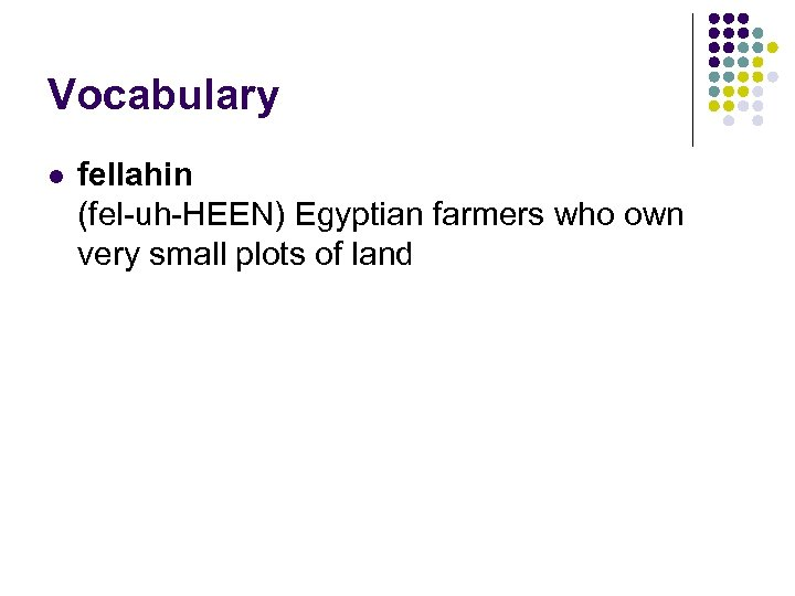 Vocabulary l fellahin (fel-uh-HEEN) Egyptian farmers who own very small plots of land