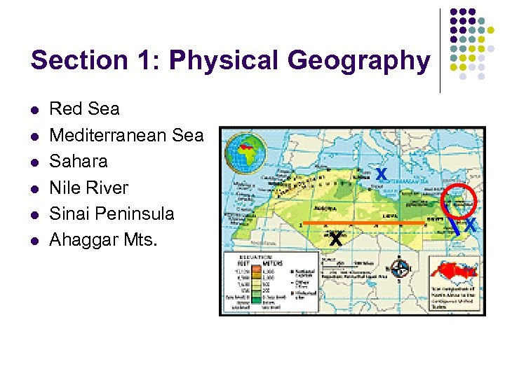 Section 1: Physical Geography l l l Red Sea Mediterranean Sea Sahara Nile River