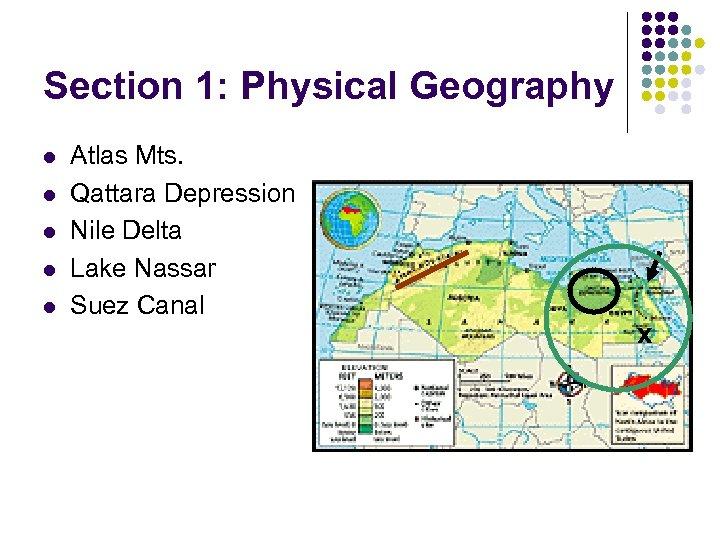 Section 1: Physical Geography l l l Atlas Mts. Qattara Depression Nile Delta Lake